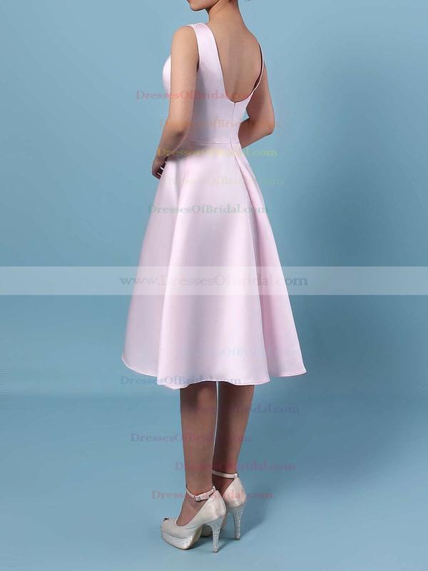 Satin Chiffon A-line Scoop Neck Asymmetrical Bridesmaid Dresses #DOB01013542