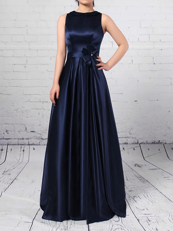 Satin A-line Scoop Neck Floor-length Sashes / Ribbons Bridesmaid Dresses #DOB01013544