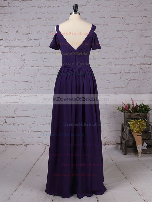 Chiffon Empire V-neck Floor-length Ruffles Bridesmaid Dresses #DOB01013547
