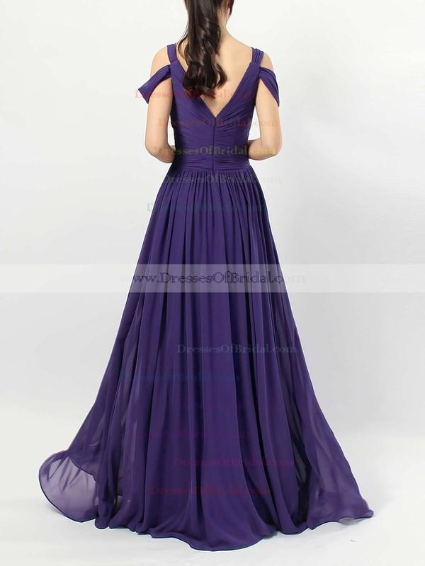 Chiffon Empire V-neck Floor-length Ruffles Bridesmaid Dresses #DOB01013547