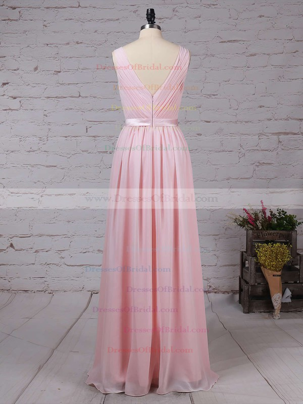 Chiffon A-line Scoop Neck Floor-length Sashes / Ribbons Bridesmaid Dresses #DOB01013550