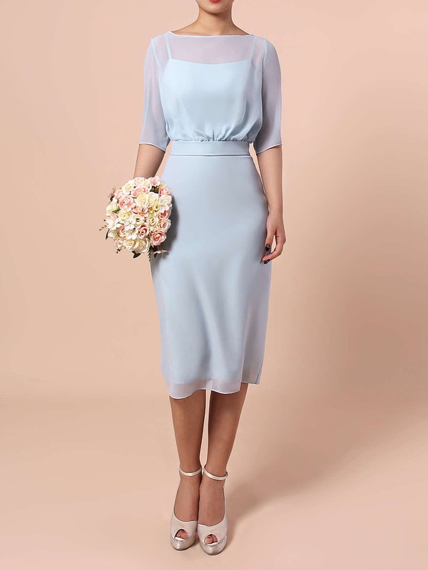 Chiffon Sheath/Column Scoop Neck Knee-length Sashes / Ribbons Bridesmaid Dresses #DOB01013551