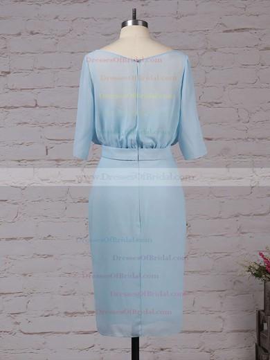Chiffon Sheath/Column Scoop Neck Knee-length Sashes / Ribbons Bridesmaid Dresses #DOB01013551