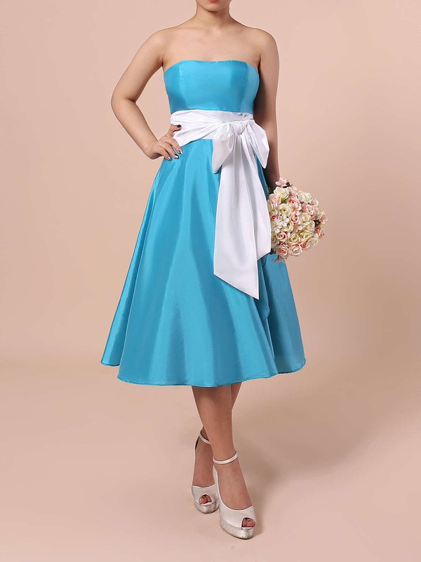 Satin A-line Strapless Knee-length Sashes / Ribbons Bridesmaid Dresses #DOB01013553