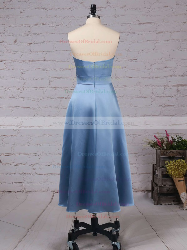 Satin A-line Sweetheart Tea-length Sashes / Ribbons Bridesmaid Dresses #DOB01013555