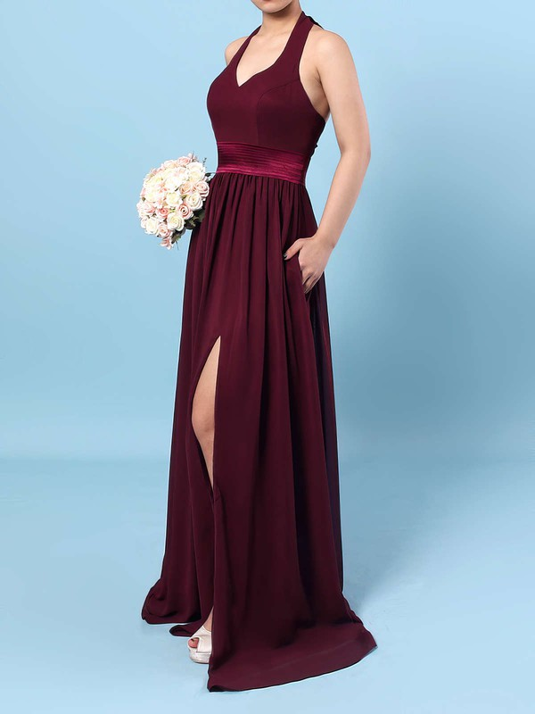 Chiffon A-line Halter Floor-length Sashes / Ribbons Bridesmaid Dresses #DOB01013563
