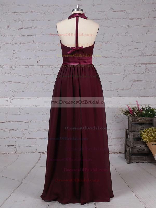 Chiffon A-line Halter Floor-length Sashes / Ribbons Bridesmaid Dresses #DOB01013563
