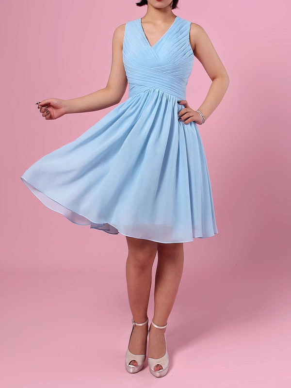 Chiffon A-line V-neck Knee-length Ruffles Bridesmaid Dresses #DOB01013564