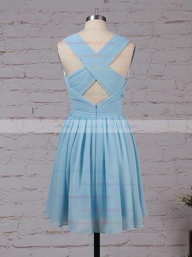 Chiffon A-line V-neck Knee-length Ruffles Bridesmaid Dresses #DOB01013564