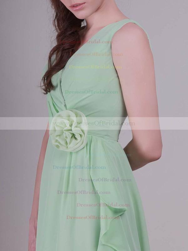 V-neck A-line Knee-length Chiffon Flower(s) Bridesmaid Dresses #DOB02042137