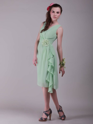 V-neck A-line Knee-length Chiffon Flower(s) Bridesmaid Dresses #DOB02042137