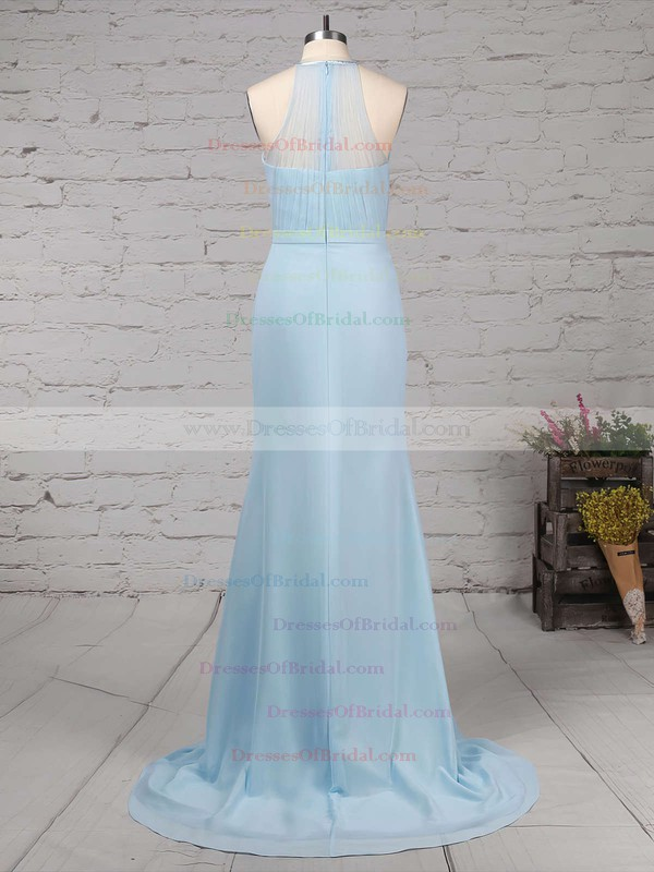 Chiffon Tulle Trumpet/Mermaid Scoop Neck Sweep Train Sashes / Ribbons Bridesmaid Dresses #DOB01013568