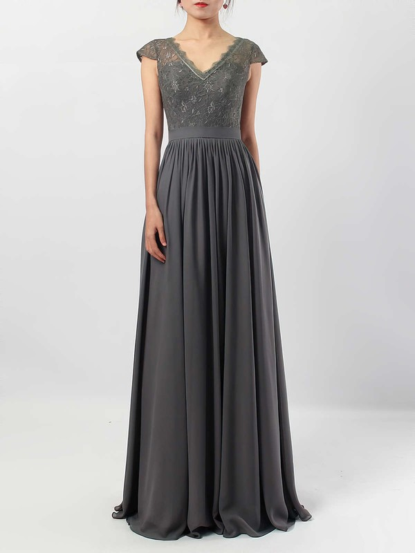 A-line V-neck Lace Chiffon Floor-length Sashes / Ribbons Bridesmaid Dresses #DOB01013569