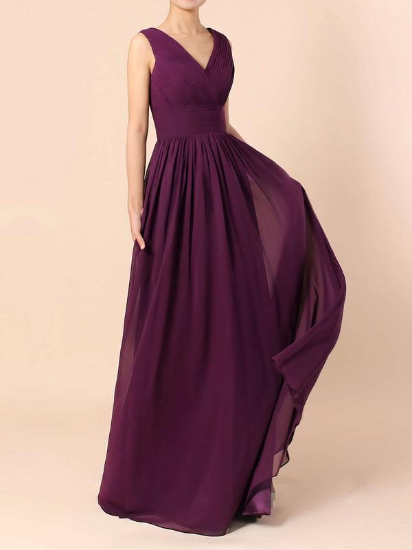 Lace Chiffon A-line V-neck Floor-length Ruffles Bridesmaid Dresses #DOB01013571