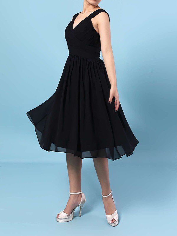 Chiffon A-line V-neck Knee-length Sashes / Ribbons Bridesmaid Dresses #DOB01013572