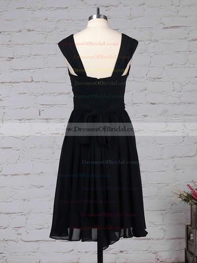 Chiffon A-line V-neck Knee-length Sashes / Ribbons Bridesmaid Dresses #DOB01013572