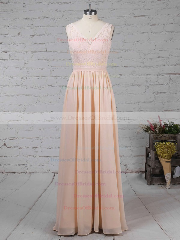 Lace Chiffon A-line V-neck Floor-length Sashes / Ribbons Bridesmaid Dresses #DOB01013574