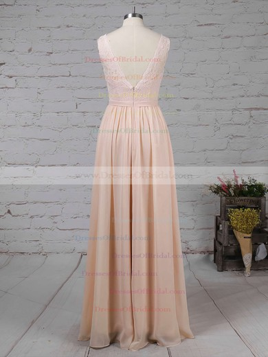 Lace Chiffon A-line V-neck Floor-length Sashes / Ribbons Bridesmaid Dresses #DOB01013574