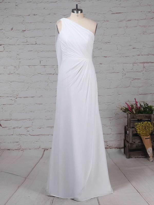 Chiffon Sheath/Column One Shoulder Floor-length Ruffles Bridesmaid Dresses #DOB01013575
