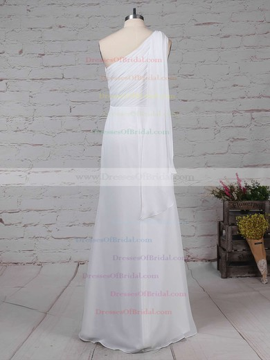 Chiffon Sheath/Column One Shoulder Floor-length Ruffles Bridesmaid Dresses #DOB01013575