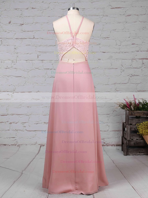 Chiffon Sheath/Column Scoop Neck Floor-length Lace Bridesmaid Dresses #DOB01013576