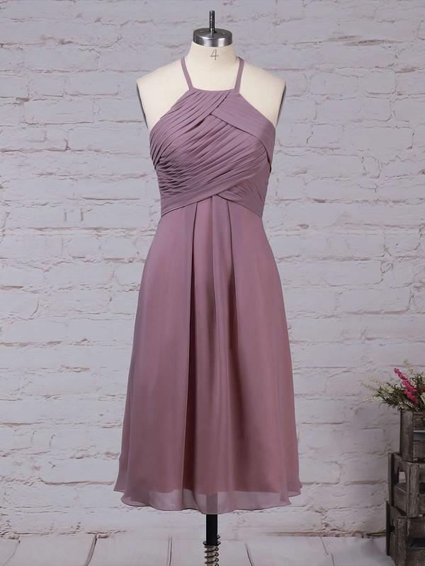 Chiffon A-line Scoop Neck Knee-length Ruffles Bridesmaid Dresses #DOB01013581