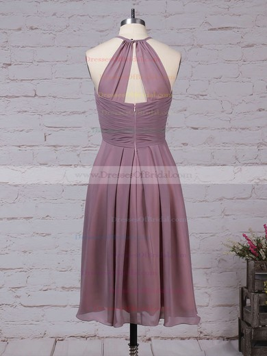 Chiffon A-line Scoop Neck Knee-length Ruffles Bridesmaid Dresses #DOB01013581