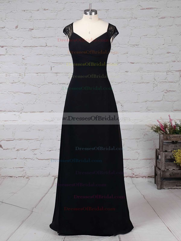 Lace Chiffon Empire V-neck Floor-length Ruffles Bridesmaid Dresses #DOB01013582