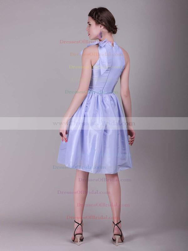 High Neck A-line Knee-length Taffeta Bow Bridesmaid Dresses #DOB02042138