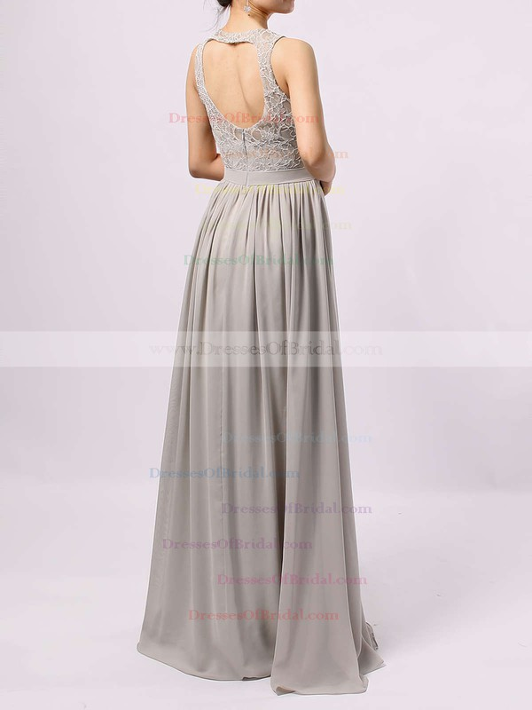A-line Scoop Neck Lace Chiffon Floor-length Sashes / Ribbons Bridesmaid Dresses #DOB01013584