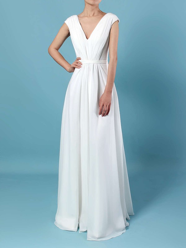 Chiffon A-line V-neck Floor-length Ruffles Bridesmaid Dresses #DOB01013587