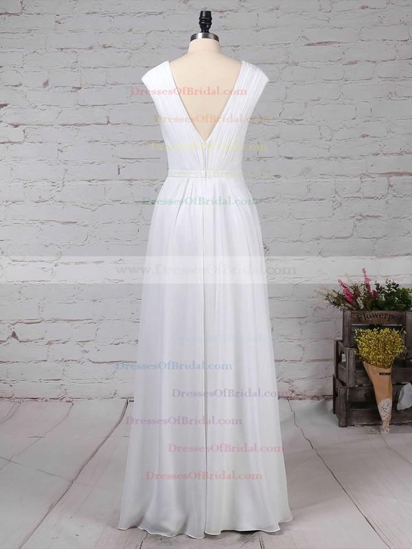 Chiffon A-line V-neck Floor-length Ruffles Bridesmaid Dresses #DOB01013587