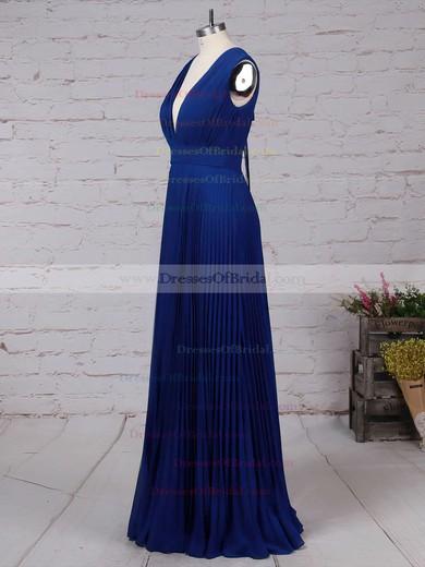 Chiffon A-line V-neck Floor-length Pleats Bridesmaid Dresses #DOB01013591