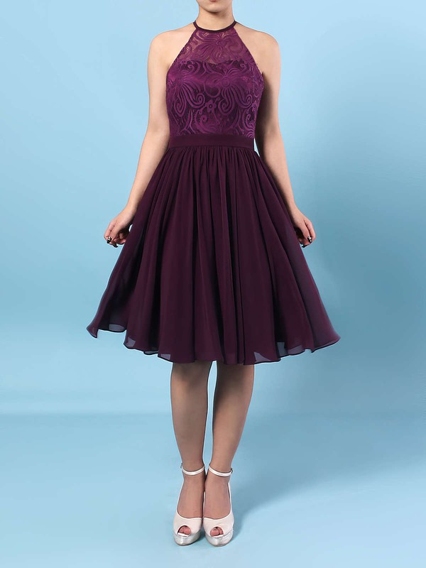 Lace Chiffon A-line Scoop Neck Short/Mini Ruffles Bridesmaid Dresses #DOB01013592