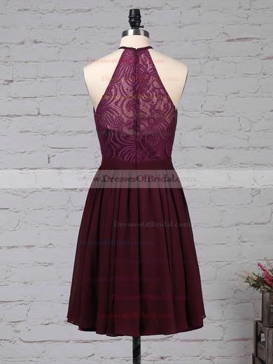 Lace Chiffon A-line Scoop Neck Short/Mini Ruffles Bridesmaid Dresses #DOB01013592