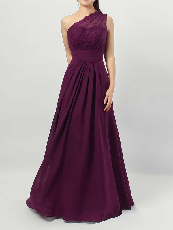 Lace Chiffon A-line One Shoulder Floor-length Ruffles Bridesmaid Dresses #DOB01013594