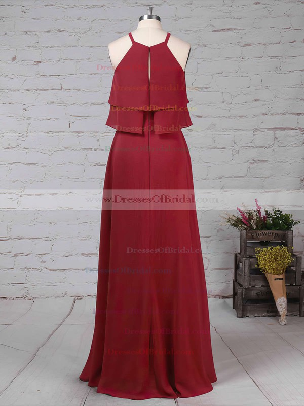 Chiffon A-line Scoop Neck Floor-length Cascading Ruffles Bridesmaid Dresses #DOB01013595