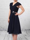 Chiffon A-line V-neck Knee-length Ruffles Mother of the Bride Dresses #DOB01021696