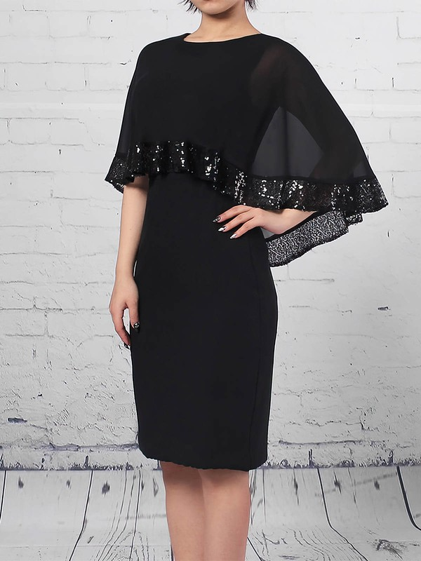 Chiffon Sheath/Column Scoop Neck Knee-length Sequins Mother of the Bride Dresses #DOB01021703