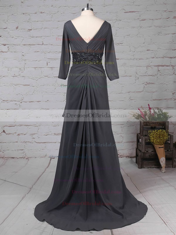 Chiffon A-line V-neck Sweep Train Beading Mother of the Bride Dresses #DOB01021700