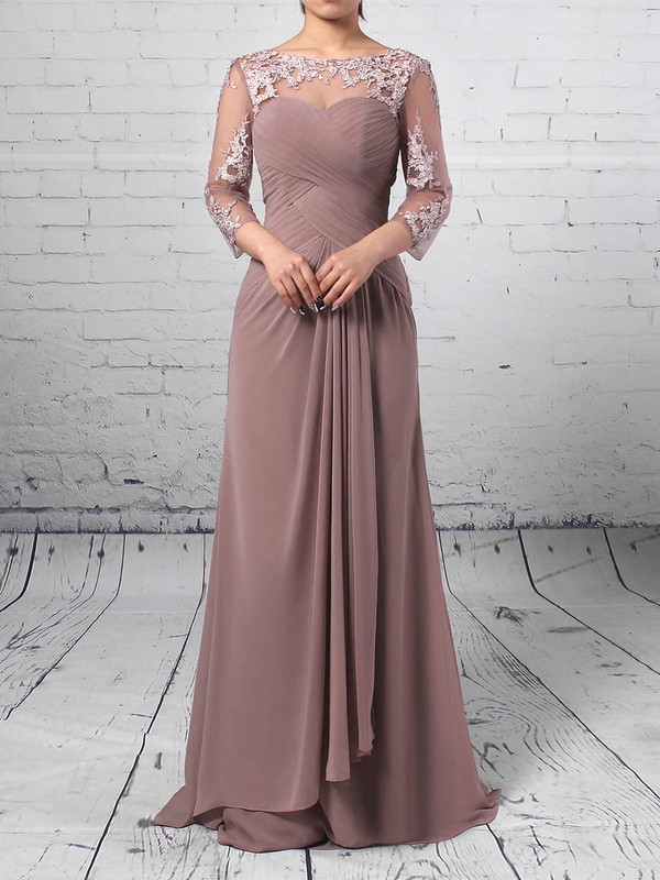 Chiffon Tulle Sheath/Column Scoop Neck Floor-length Appliques Lace Mother of the Bride Dresses #DOB01021704