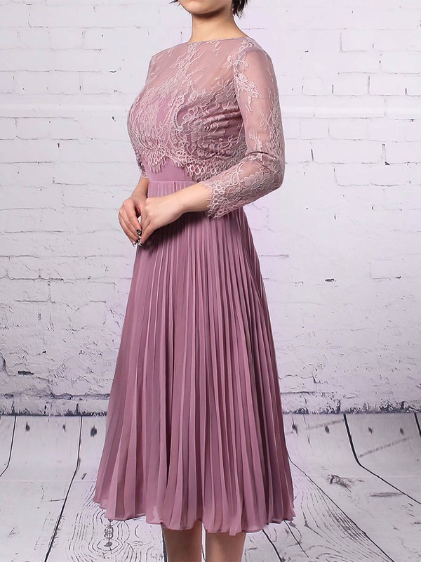 Lace Chiffon Sheath/Column Scoop Neck Knee-length Pleats Mother of the Bride Dresses #DOB01021677