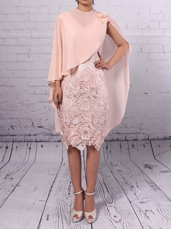 Lace Chiffon Sheath/Column V-neck Knee-length Flower(s) Mother of the Bride Dresses #DOB01021710