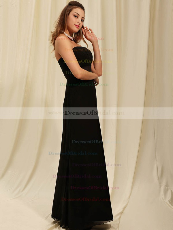 Strapless Sheath/Column Floor-length Chiffon Draping Bridesmaid Dresses #DOB02042141