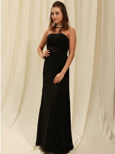 Strapless Sheath/Column Floor-length Chiffon Draping Bridesmaid Dresses #DOB02042141
