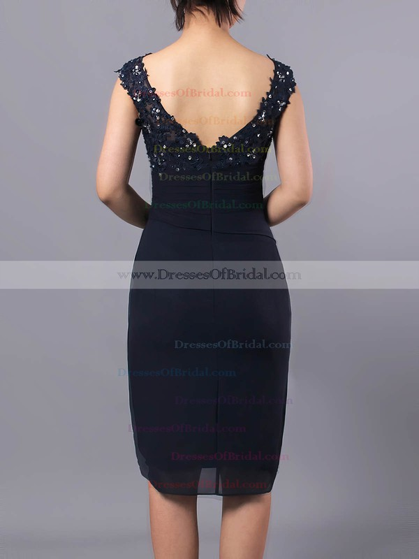 Sheath/Column V-neck Chiffon Tulle Knee-length Beading Mother of the Bride Dresses #DOB01021712