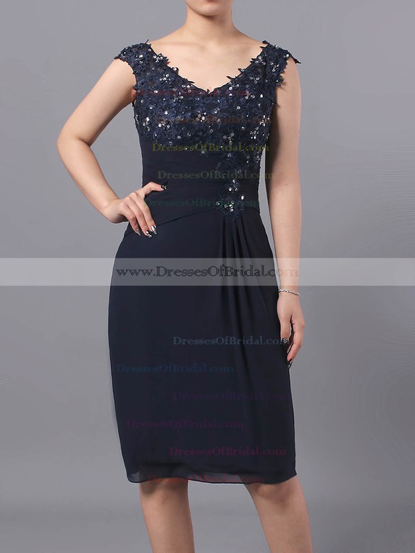 Sheath/Column V-neck Chiffon Tulle Knee-length Beading Mother of the Bride Dresses #DOB01021712