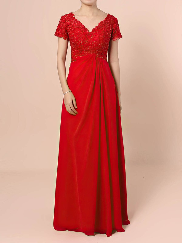 Lace Chiffon A-line V-neck Floor-length Beading Mother of the Bride Dresses #DOB01021721