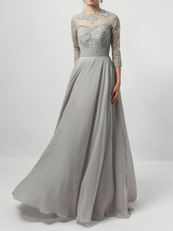 Chiffon Tulle A-line Scoop Neck Floor-length Appliques Lace Mother of the Bride Dresses #DOB01021724