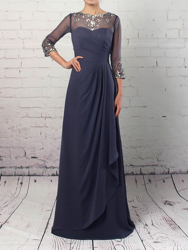 Chiffon Tulle A-line Scoop Neck Floor-length Beading Mother of the Bride Dresses #DOB01021730